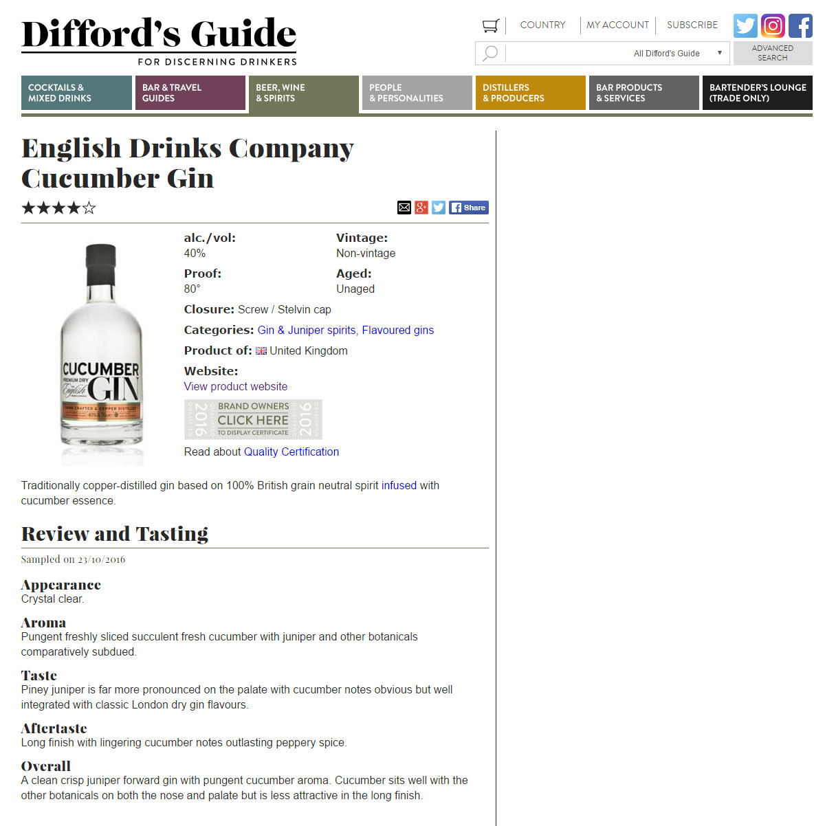 Diffords Guide Rates Cucumber Gin