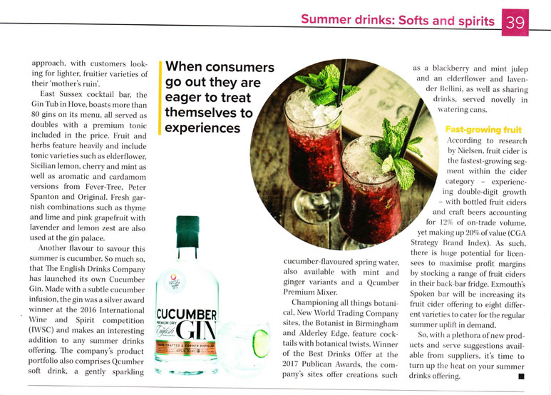 Cucumber Gin in the Morning Advertiser