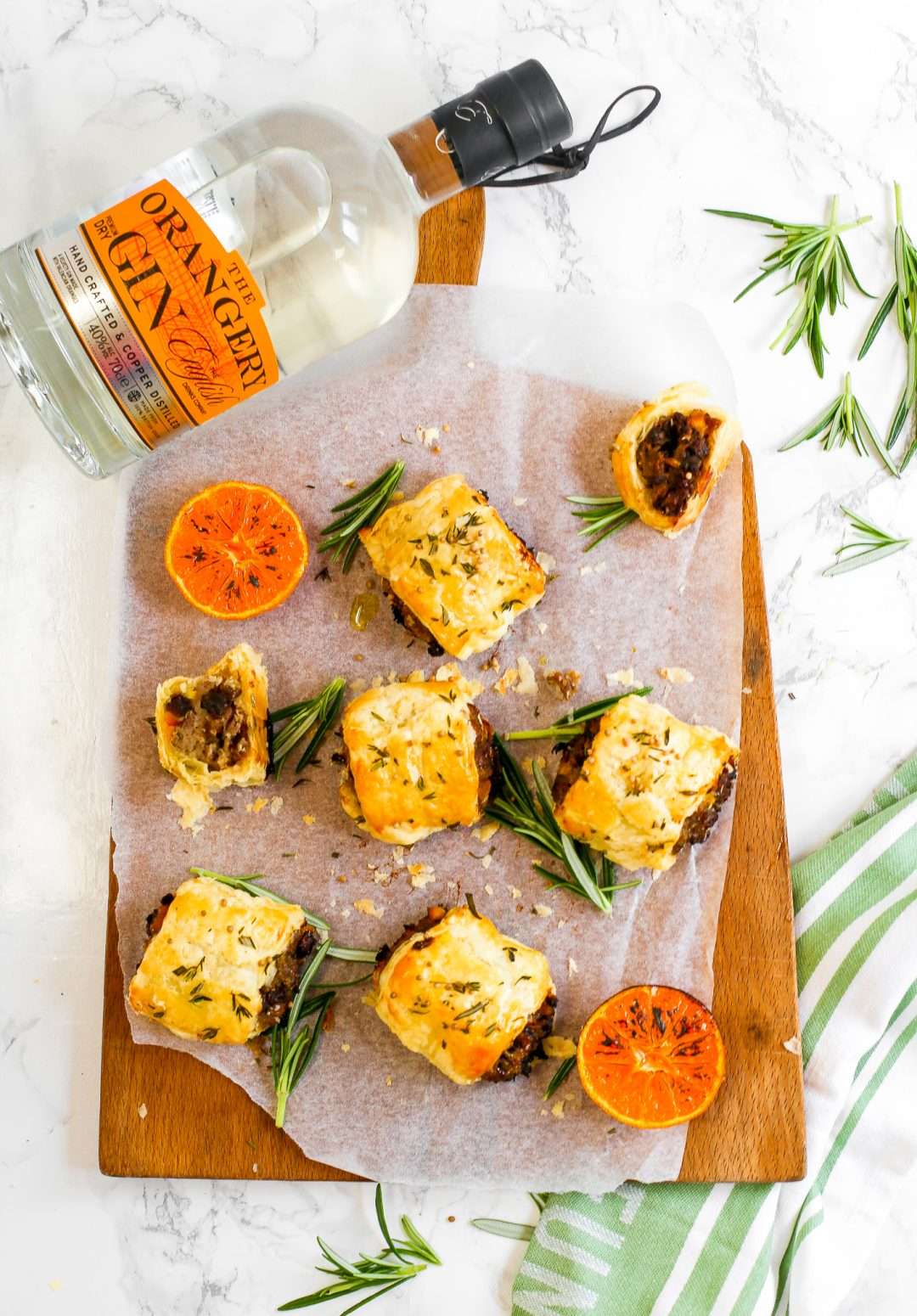 Orange Gin and Venison Sausage Rolls