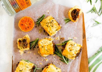 Orange Gin and Venison Sausage Rolls