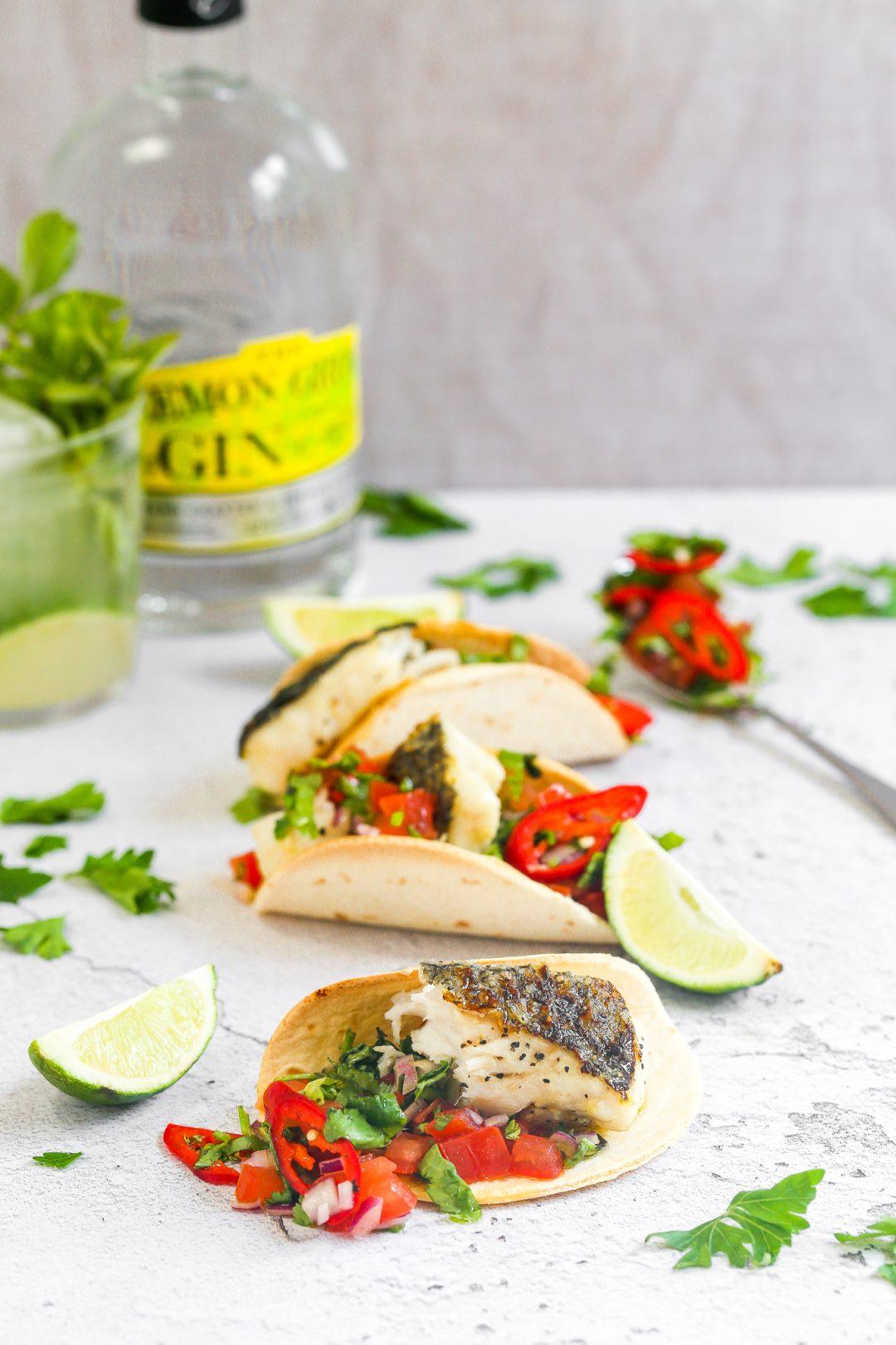 Hake and tomato and lemon gin Salsa Tacos