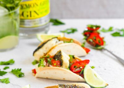 Hake and tomato and lemon gin Salsa Tacos