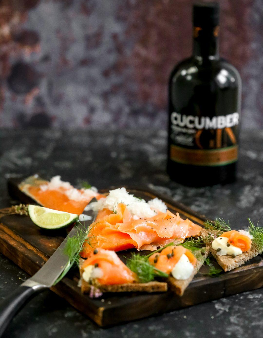 Smoked Salmon with Cucumber and Gin Granita