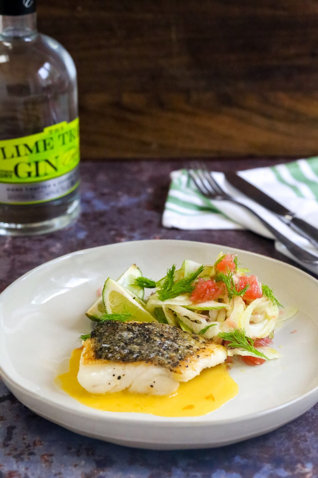 Fillet of hake with lemon gin hollandaise and a fennel and grapefruit salad